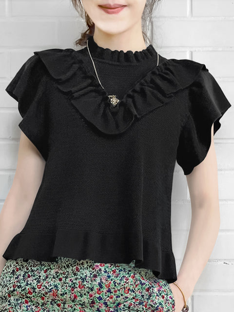 Black Mix Stitches Ruffle Sleeveless Knit Top