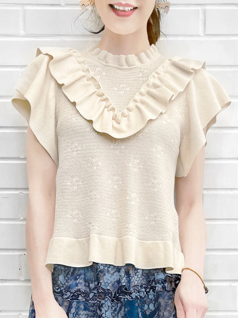 Ivory Mix Stitches Ruffle Sleeveless Knit Top