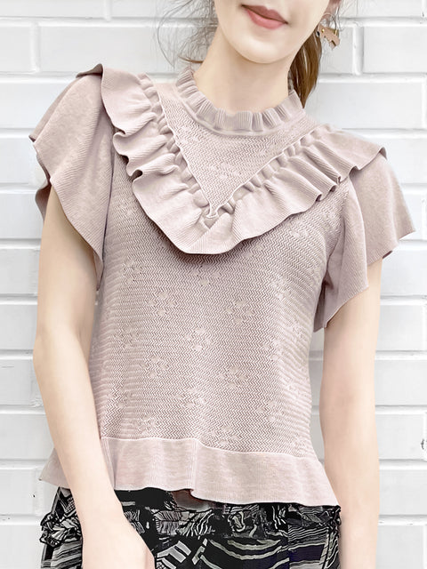 Pink Mix Stitches Ruffle Sleeveless Knit Top