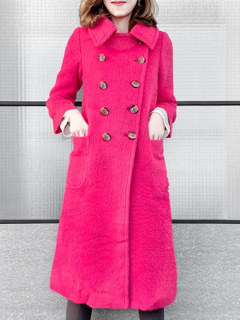 Further Sale! Popping Pink Double Breasted Wool Blend Longline Coat