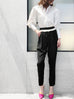 Surprise Sale! Black With White Ruffle Waist Taper Trousers