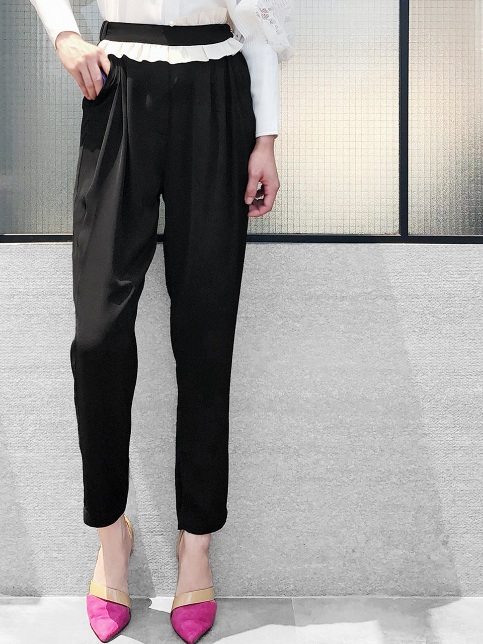 Last Chance! Black With White Ruffle Waist Taper Trousers