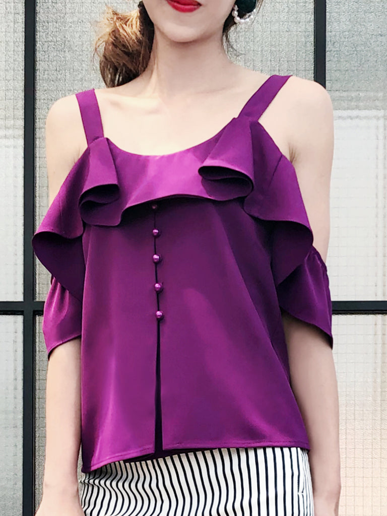 Further Sale! Purple Cold Shoulder Ruffle Top