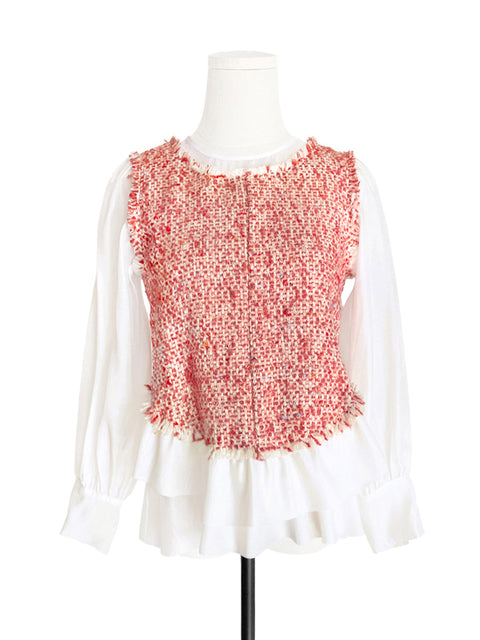 White Organza Contrast Reddish Tweed Woollen Ruffle Top