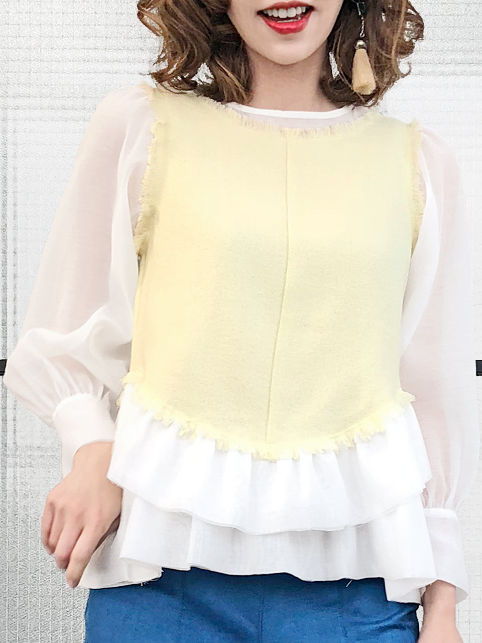 Last Chance! White Organza Contrast Creamy Yellow Woollen Ruffle Top