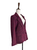 Surprise Sale! Burgundy Single Scallop Lapel Woollen Scarf Blazer
