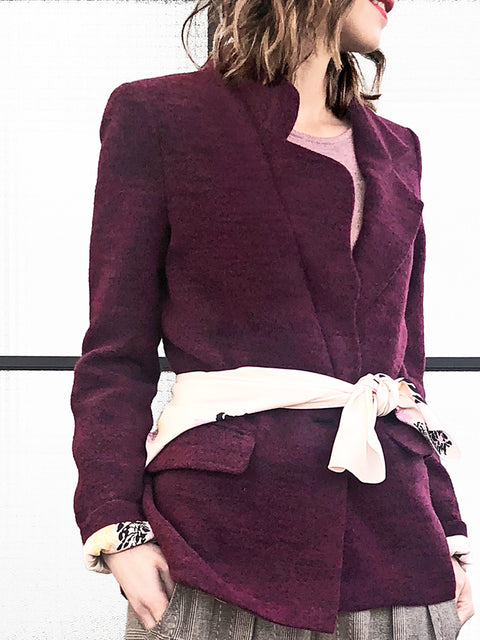 Burgundy Single Scallop Lapel Woollen Scarf Blazer