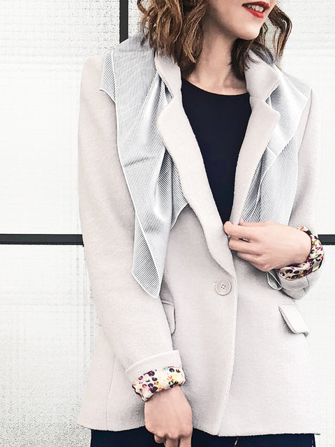 Greyish Single Scallop Lapel Woollen Scarf Blazer