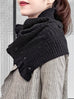 Classic Black Angora Wool Blend Ruffle Neck Warmer Cape