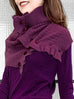 Deep Magenta Angora Wool Blend Ruffle Neck Warmer Cape