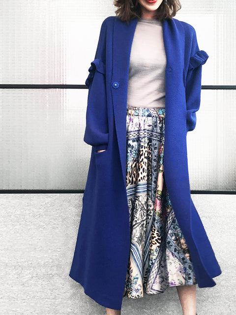 Last Chance! Blue Ruffle Sleeves Cashmere-wool Blend Long Cardigan
