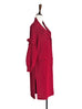 Red Ruffle Sleeves Cashmere-wool Blend Long Cardigan