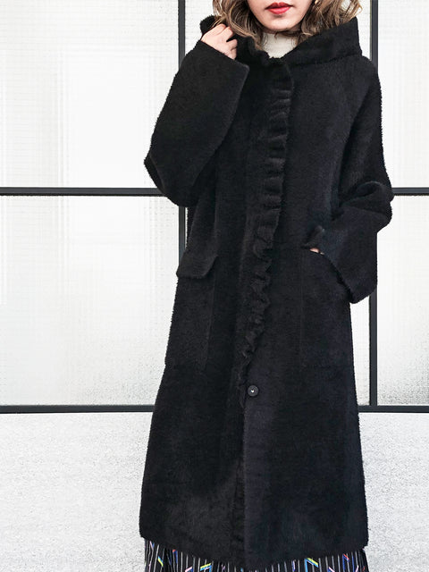 Black Single Ruffle Trim Wool Blend Hooded Long Cardigan