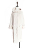 Ivory Single Ruffle Trim Wool Blend Hooded Long Cardigan