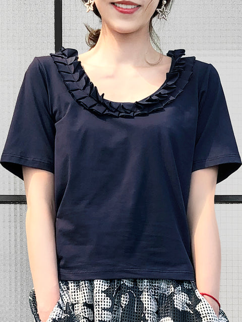 Navy Pleated Ruffle Collar Short Sleeves Cotton Blend Tee