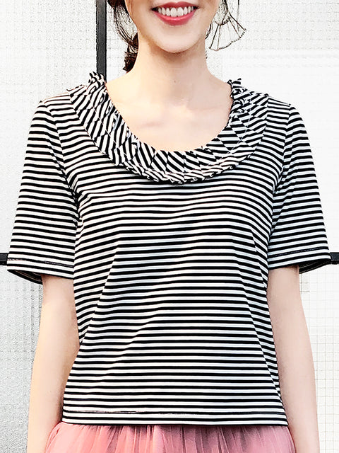 Stripe Pleated Ruffle Collar Short Sleeves Cotton Blend Tee