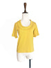 Surprise Sale! Yellow Pleated Ruffle Collar Short Sleeves Cotton Blend Tee