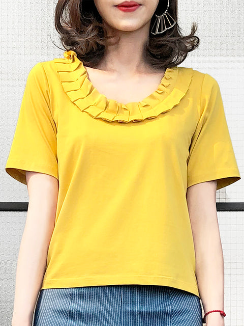 Yellow Pleated Ruffle Collar Short Sleeves Cotton Blend Tee