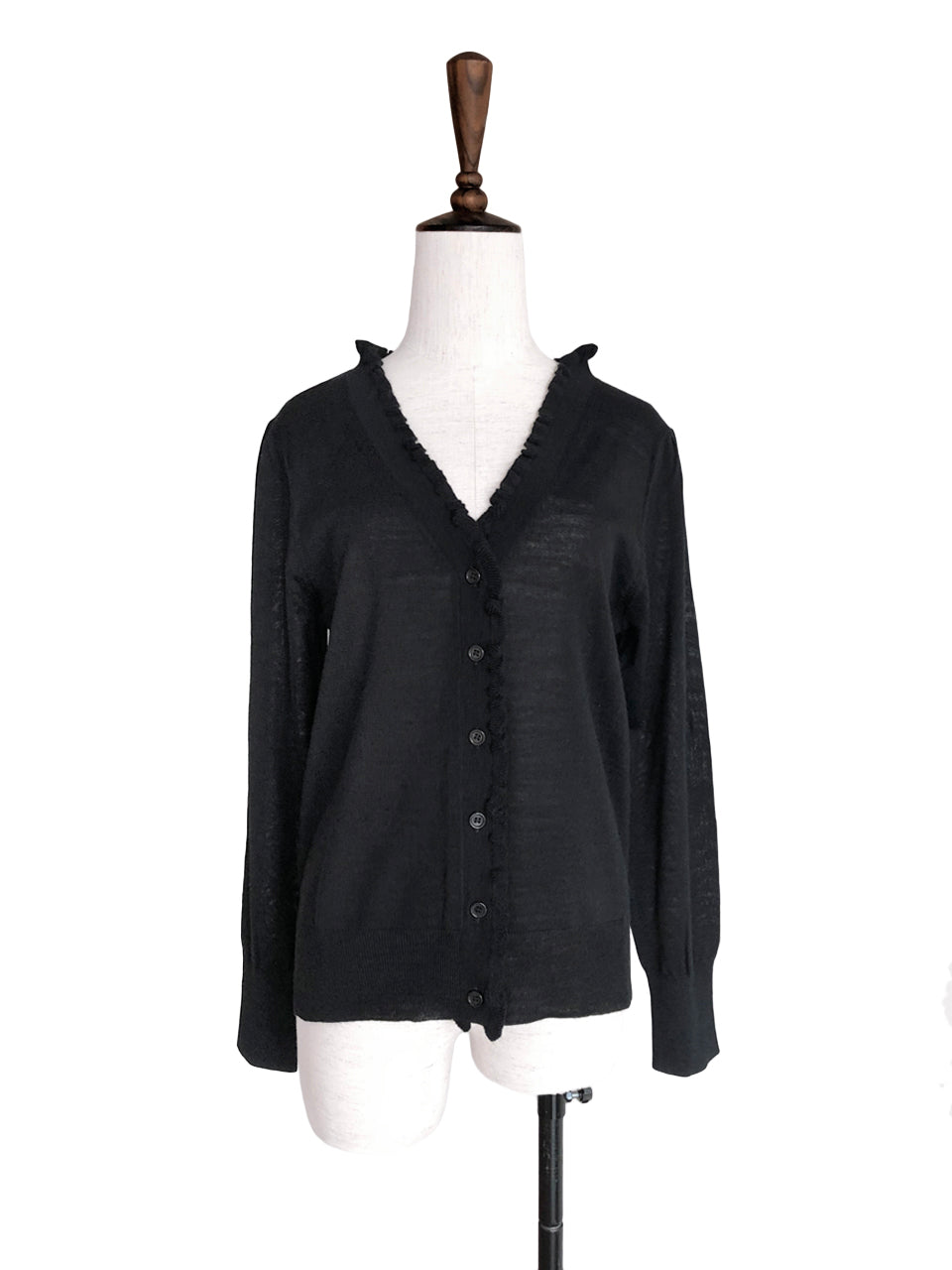 Surprise Sale! Classic Black Double V-Neck Frill Detail Cashmere Blend Cardigan Top