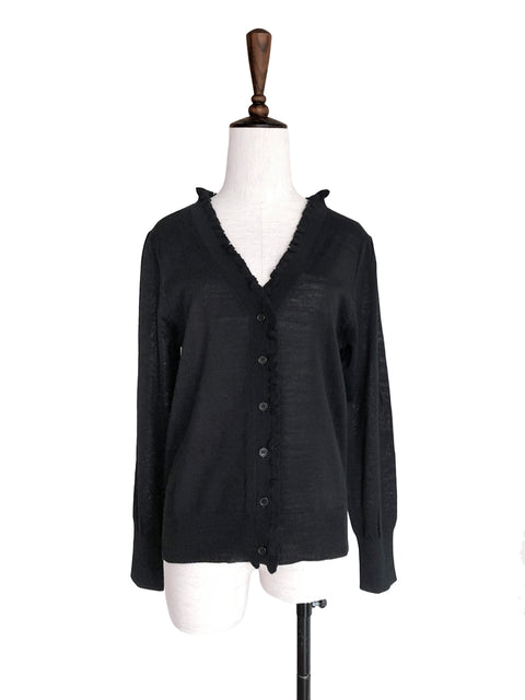 Classic Black Double V-Neck Frill Detail Cashmere Blend Cardigan Top