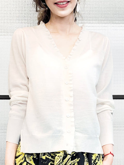 Ivory White Double V-Neck Frill Detail Cashmere Blend Cardigan Top