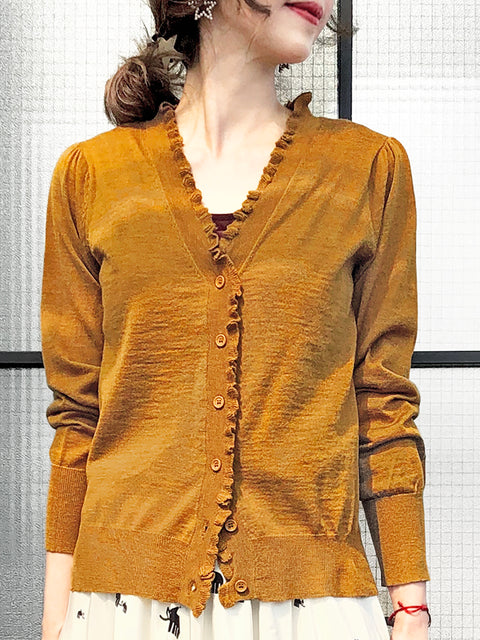 Dark Mustard Double V-Neck Frill Detail Cashmere Blend Cardigan Top