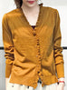 Surprise Sale! Dark Mustard Double V-Neck Frill Detail Cashmere Blend Cardigan Top
