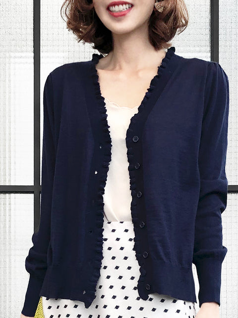 Dark Navy Double V-Neck Frill Detail Cashmere Blend Cardigan Top