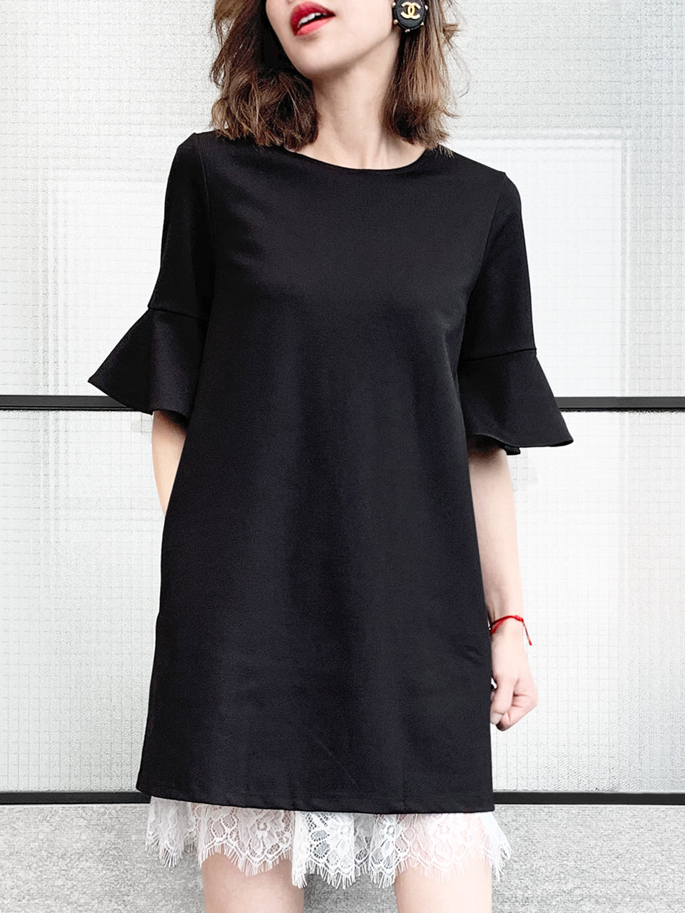 Black Lace Layered Ruffle Sleeve Tunic Dress