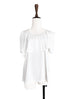 Surprise Sale! Pure White Asymmetrical Ruffle Cape Cotton Blend Tee