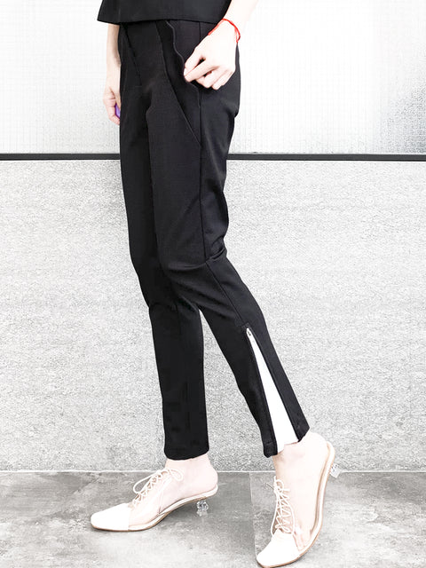 Classy Black Scalloped Pocket Zip Detail Stretch Slim Trousers