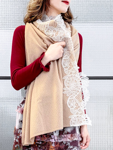 Last Chance! Beige Embroidery Lace Trims Pure Luxe Cashmere Wrap