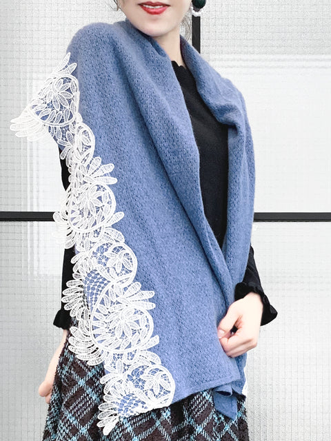 Blue Embroidery Lace Trims Pure Luxe Cashmere Wrap