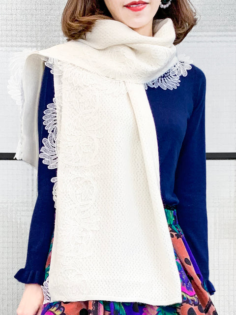 Surprise Sale! Ivory Embroidery Lace Trims Pure Luxe Cashmere Wrap