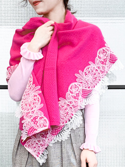 Fuchsia Embroidery Lace Trims Pure Luxe Cashmere Wrap