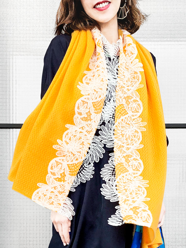 Surprise Sale! Mango Yellow Embroidery Lace Trims Pure Luxe Cashmere Wrap