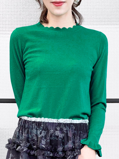 Surprise Sale! Green Scallop Neck Ruffle Cuffs Cashmere Wool Blend Sweater