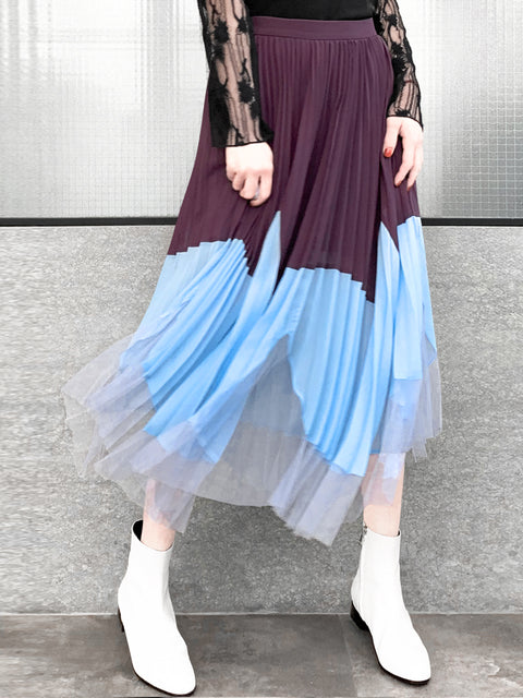 Purple Blue Shades Asymmetrical Colorbock Mesh Detail Pleated Midi Skirt