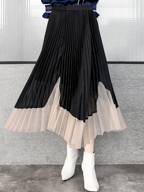 Black Asymmetrical Gold Mesh Hem Pleated Midi Skirt