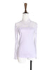Surprise Sale! Lilac Lace Mesh Yoke Long Sleeve Woollen Tee
