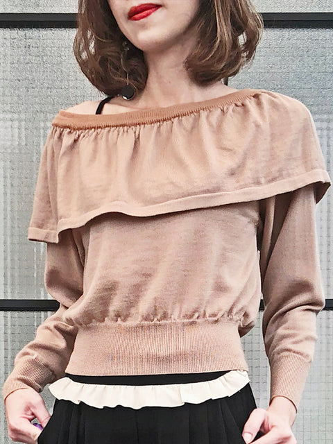 Surprise Sale! Beige One-Shoulder Merino Wool Ruffle Sweater