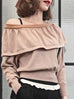 Further Sale! Beige One-Shoulder Merino Wool Ruffle Sweater