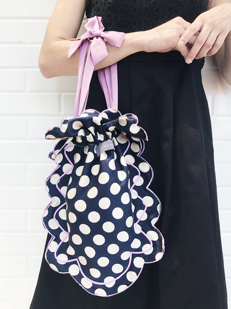 Surprise Sale! Navy Dots Scalloped Drawstring Silky Shopper