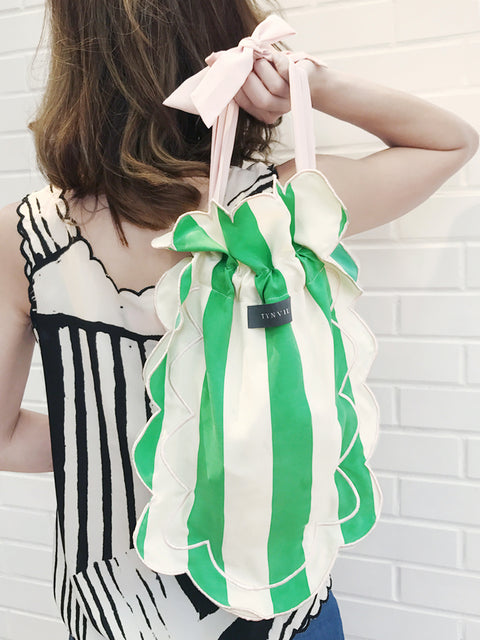 Surprise Sale! Green-White Stripe Scalloped Drawstring Silky Shopper