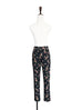 Further Sale! Black Floral Prints Pleat Front Tapered Trousers