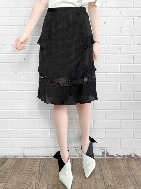 Black Sparkle Tiered Ruffle Dotty Trim Lace Skirt