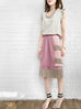 Pinky Sparkle Tiered Ruffle Dotty Trim Lace Skirt