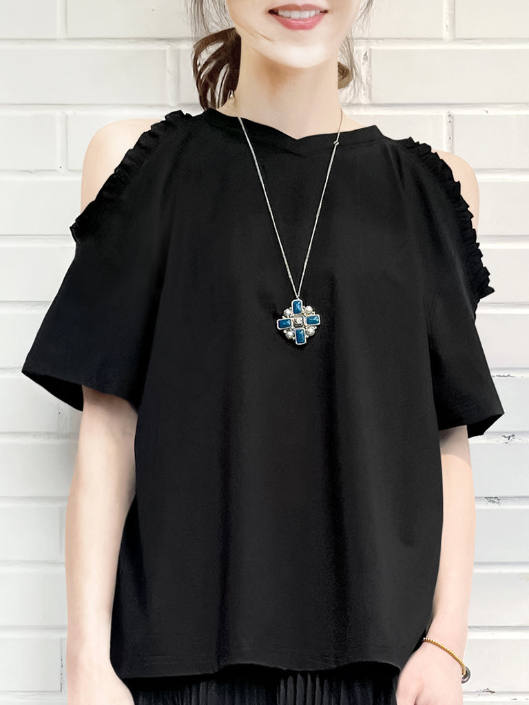 Black Ruffle Off the Shoulder Cotton Blend Tee