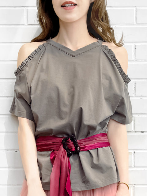 Grey Ruffle Off the Shoulder Cotton Blend Tee