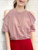 Pink Ruffle Off the Shoulder Cotton Blend Tee